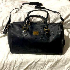 MCM black on black purse with shoulder strap euc
